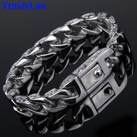 TrustyLan New Stainless Steel Men's Charm Bracelets Retro Mens Bracelets 2017 High Quality Cool Male Biker Jewelry Accessory