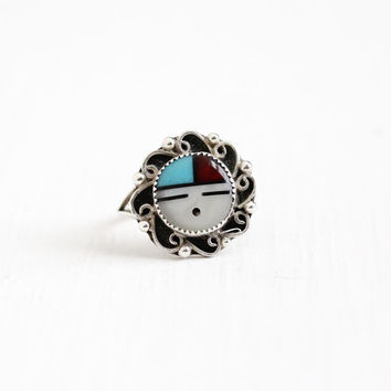 Vintage Sterling Silver Sunface Ring - Size 8 1/2 Retro 1970s Native American Tribal Zuni Onyx MOP Coral Turquoise Statement Jewelry