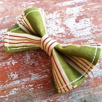 Green and Red Striped Bow Tie newborn to 5t
