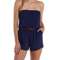 Blue Crochet-Trim Strapless Romper by Charlotte Russe