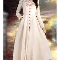 Retro Style Women s Stand Collar Embroidered Long Sleeve Coat
