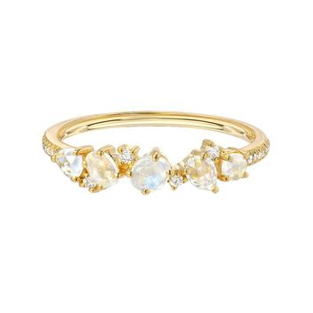 Moonstone pave cluster ring