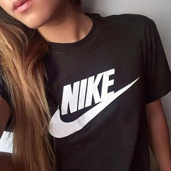 Nike Women Men T-shirt Fashion Hot Short Sleeve Print Letters Top Black