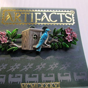 Vintage JJ pin Blue Bird-Jonette Jewelry Brooch-unique gift woman under 20 -Artifacts 1986 collectible- made in the USA