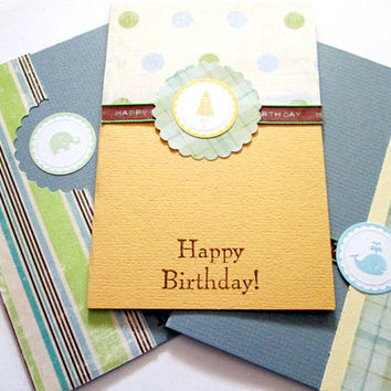 Little Boy Birthday Cards, Blue, Green, Yellow, Brown, set of 3