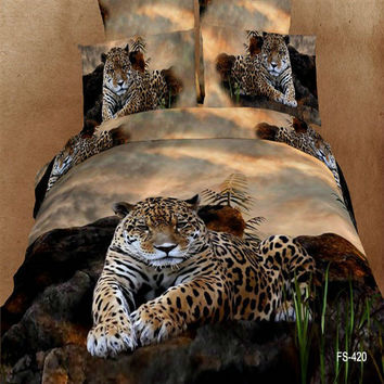 Bed Set 3D Divine Leopard 4PC