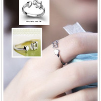 2015 New Fashion Silver Women Charm Ring Finger Opening Adjustable Dog Sharp (Color: Silver) = 1958166980