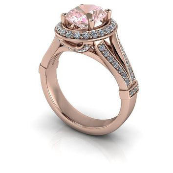 14 kt Gold Oval Morganite Diamond Halo Engagement Ring 2.08 ctw