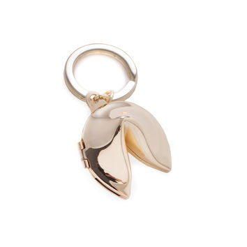 Gold Plated Fortune Cookie Box Keyring.