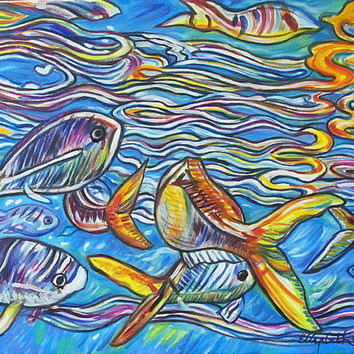 Crayola Fish -- 22 x 28 inch Original Oil Painting by Elizabeth Graf on Etsy, Art Painting READY to HANG