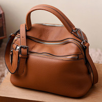 Casual Chic Brown Genuine Leather Tote. Camel Weekend Bag Sling Bag
