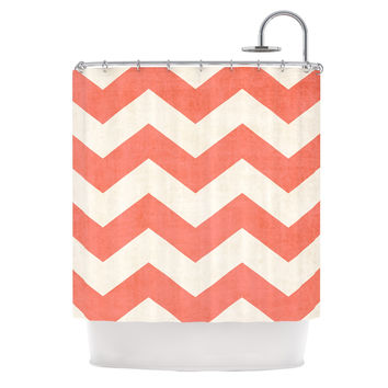 "Ann Barnes ""Vintage Coral"" Orange Chevron Shower Curtain"