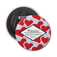 2 Red Hearts Repeating Pattern Cute Bottle Opener