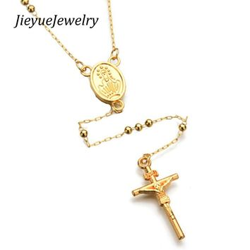 Gold Color Tone Stainless Steel Bead Chain Jesus Christ Cross Pendant Rosary Necklace Mens Womens Jewelry