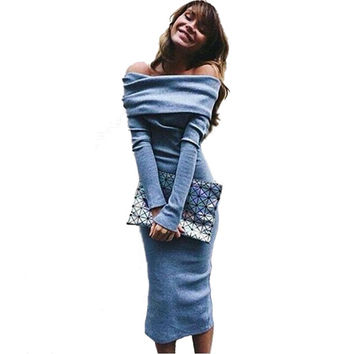 New Women Fashion Sexy Strapless Blue Long Sleeve Bodycon Wrap Dress Girls Prom Party