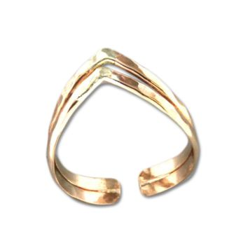 Double V Adjustable Toe Ring - Gold Filled