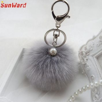 Faux Rabbit Fur Ball Keychain