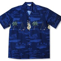 tee time navy hawaiian border shirt