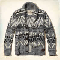 Patterned Shawl Cardigan Sweater