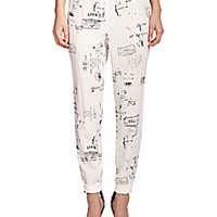 Tibi - Stamp-Print Silk Track Pants - Saks Fifth Avenue Mobile