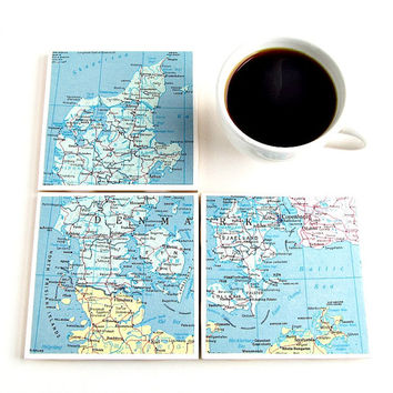 Denmark Map Coasters / Danish Coasters / Gifts Under 30 / Christmas Gifts for World Travelers / Gifts for the Home / Ready to Ship Gifts