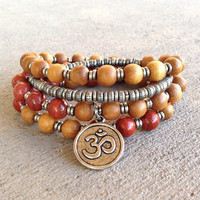 Healing and Grounding, Sandalwood and Red Jasper 54 bead mala necklace or bracelet
