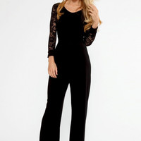 Black Flared Long-Sleeve Lace Jumpsuit