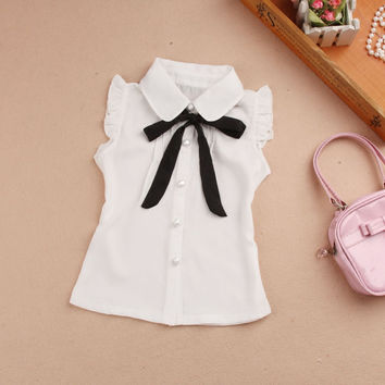 New 2017 Summer Kids Girls Clothes Children Clothing Fashion Single-breasted Chiffon Vest Cut Bow School Girl Vest Age 2-16Y