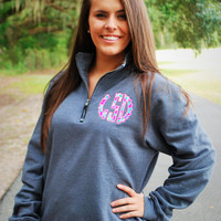 Preppy Quarter Zip Pullover Sweatshirt With Scalloped Lilly Pulitzer Monogram