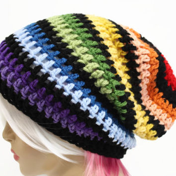 Rainbow Slouchy Beanie Crochet Slouchy Beanie Hipster Hat Mens or Womens Style Slouch Beanie