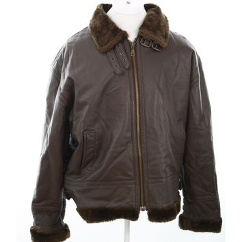 Nexus mens jacket heavy winter genuine leather brown coat faux fur lined XL