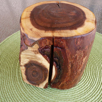 Handcrafted 6 Piece Acacia Wood Log Puzzle Box with secret inner compartment
