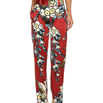 DSQUARED2 Fantasy Printed Silk Cherry Blossom Silk Mariacarla Pants