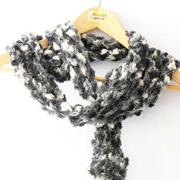 handknitted scarf, long scarf black white grey, knit scarf