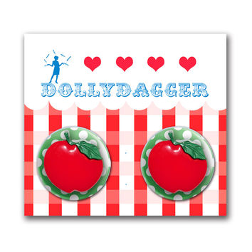 Dollydagger Polka Dot Apple Button Earrings
