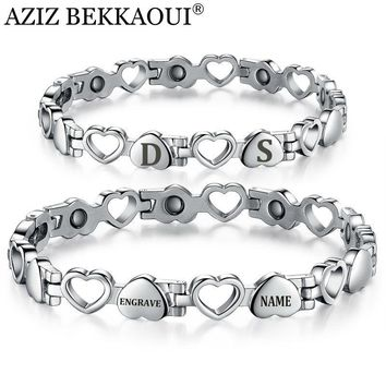 Healthy Magnetic Bracelets & Bangles Stainless Steel Heart Shape Charms Bracelets For Women Lovers' Jewelry Unique Engrave Logo