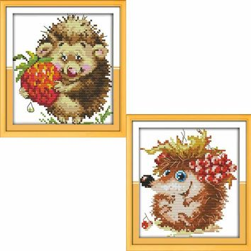 The Lovely Hedgehog Counted Cross Stitch 11CT 14CT Cross Stitch animals Cross Stitch Kits Embroidery for Home Decor Needlework