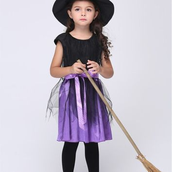 MOONIGHT Halloween Costumes Girl Black Fly Witch Costume Dress and Hat Cap Party Cosplay Clothing for Kids Girl Children