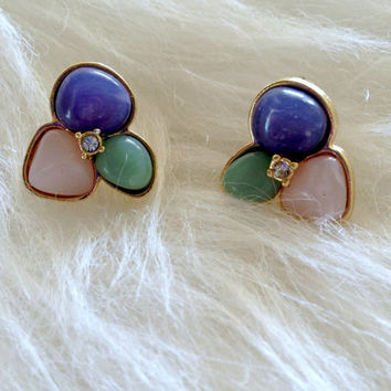 Free US Shipping - Vintage Avon Pastel Lucite Flower Stud Earrings - Retro, 80s, Puple, Pink, Sea Green, Gold Tone, Post, Rhinestone