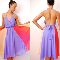 Etsy Transaction -        Vtg 70s Color Block Lilac Chiffon Roller Girl Halter Dress