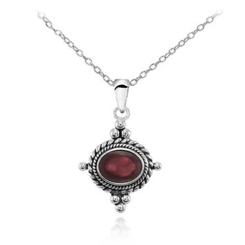 Oval Cabochon Garnet Bali Bead Oxidized Vintage Necklace in Sterling Silver