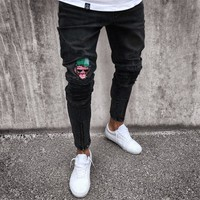 Black Men Zippers Jeans [3444984971357]