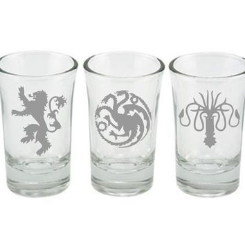 Game of Thrones Shot Glass Set, Lanister, Targaryen, Greyjoy