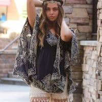 Monoreno Vintage Embroidered Poncho Top (Navy)
