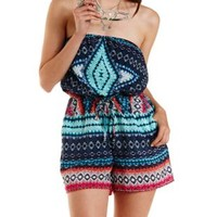 Blue Combo Tie-Dye Printed Strapless Romper by Charlotte Russe