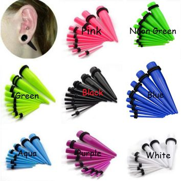 Showlove-18pcs 8 Colors Acrylic Ear Plug Taper Kit Gauges Expander Stretcher Stretching Piercing14g--00g Free Shipping