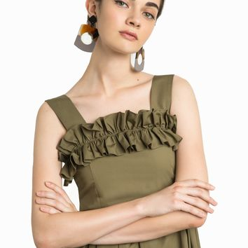 OLIVE RUFFLE MIDI DRESS