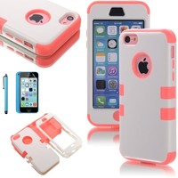 ATC Masione(TM) 3-Piece Hybrid High Impact Resistance Case Rubberized Silicone Cover For Apple iPhone 5C with Screen Protector & Stylus (Pink+White)