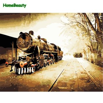 Vintage train modular pictures acrylic paints drawing by numbers on canvas wall art paintings for the kitchen home decor WY5030