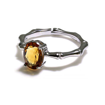SALE: 20% Off - Unique Citrine Ring, Bone Shaped Band, 925 Sterling Silver, Natural Yellow Quartz in Oval Cut, Adjustable Band, One Off